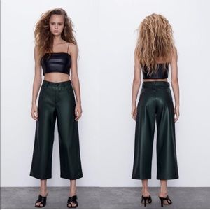 Zara Super High Rise Faux Leather Wide Leg Cropped Pants - Forrest Green